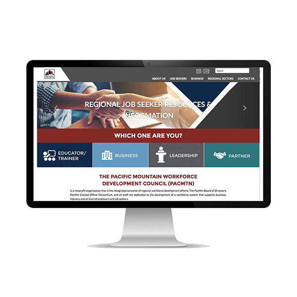 Pacific Mountain Workforce Development Council website image preview homepage