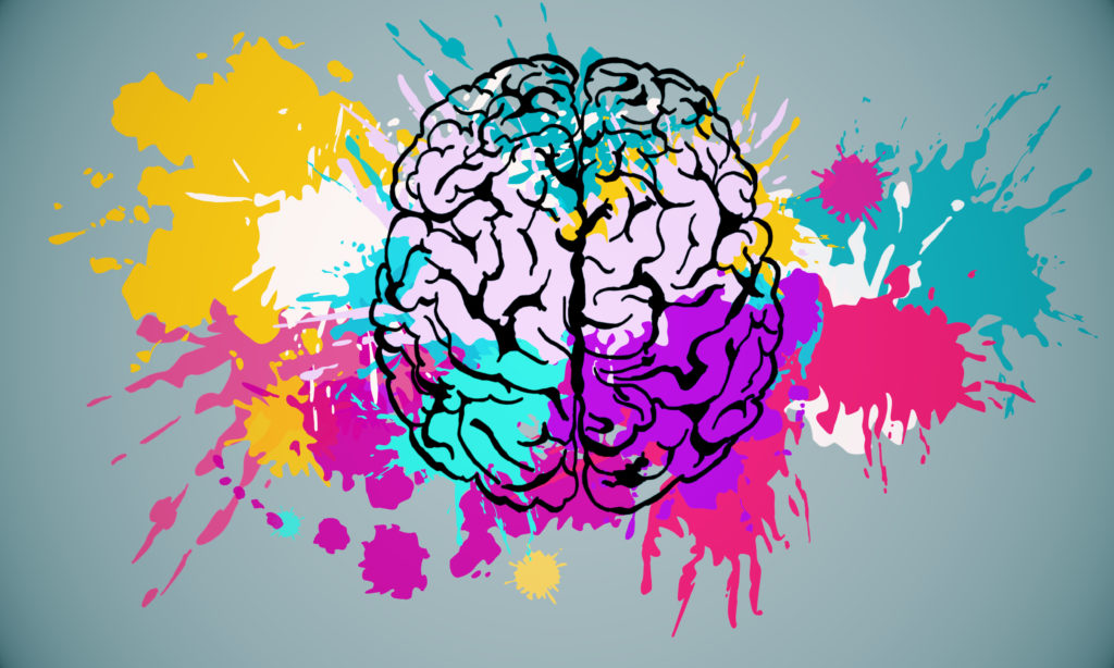 Abstract colorful splatter brain drawing on subtle background. Brainstorm and art concet. 3D Rendering